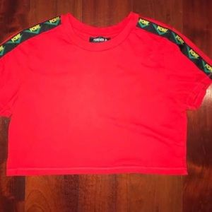 """Red cropped """"pony """" top"""